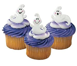Halloween Cupcake Decorating Ideas Uk : Halloween Cupcake Decorations Rings Friendly Ghosts 51x...