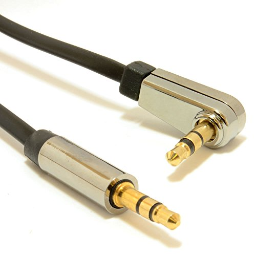 kenable Low Profile FLAT Metal 3.5mm Right Angle Male Jack to Jack Cable 0.3m (~1 foot) (Low Profile Aux Cable compare prices)
