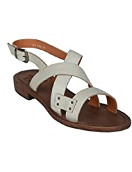 Salt N Pepper Zed Offwhite 100% Genuine Leather Men Buckle Gladiators Sandals