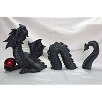Dragon with Orb Outdoor Lawn Statue