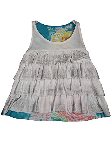 Flowers by Zoe - Little Girls' Sleeveless Cropped Top, White, Turquoise 35710-5