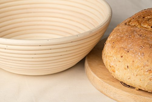 10.5 Inch Banneton Proofing Basket with Cloth Liner and Silicone Bowl Scraper - Creates Beautiful Ring Pattern Shape - Oval Brotform Proofing Bowl Box Round Artisan Bread Loaf Dough Rising