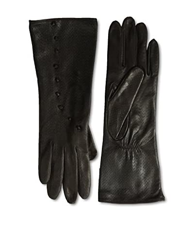 Portolano Women's Silk Lined Perforated Leather Gloves with Buttons