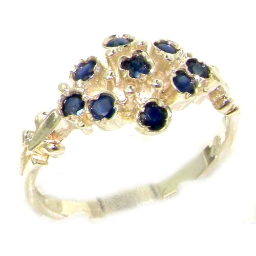 Unusual Solid Sterling Silver Natural Sapphire Ring with English Hallmarks - Size 12 - Finger Sizes 5 to 12 Available - Suitable as an Anniversary ring, Engagement ring, Eternity ring, or Promise ring
