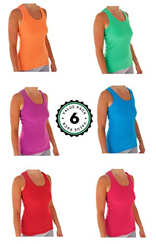 Womens Tank Tops, Basic Cotton Ribbed Racerback Tanktop (6 Pack) (Large, Assortment 2)