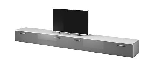TV Porta Mobili Supporto Mobile Boston 300 Cm Corpo Bianco Opaco / Front Grigio Lucida