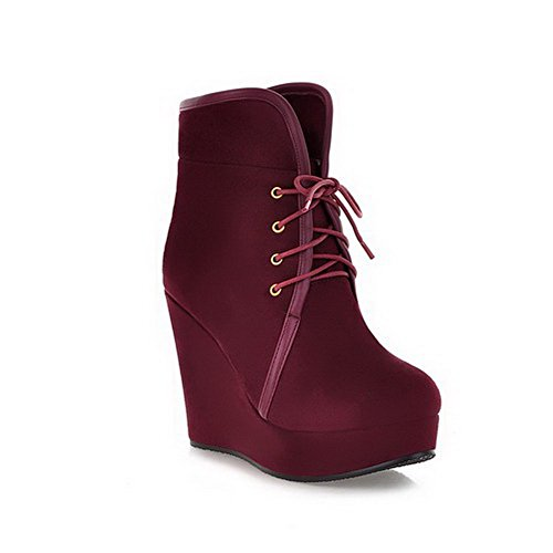 Beanfashion Womens Close Round Toe High Heels Pu Frosted Solid Boots With Platform And Wedge, Claret, 7.5 B(M) Us
