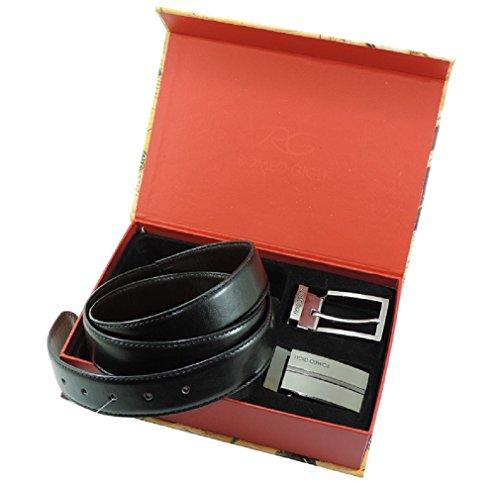 Cofanetto cintura uomo Romeo Gigli DOUBLE FACE con doppia fibbia intercambiabile misura utile girovita 110-120 cm