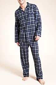 Pure Cotton Thermal Long Sleeve Check Pyjamas [T07-2250-S]