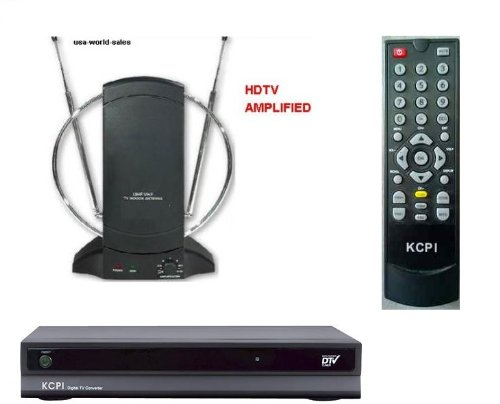 Digital To Analog Converter Box & Remote + Amplified Tv Antenna Package