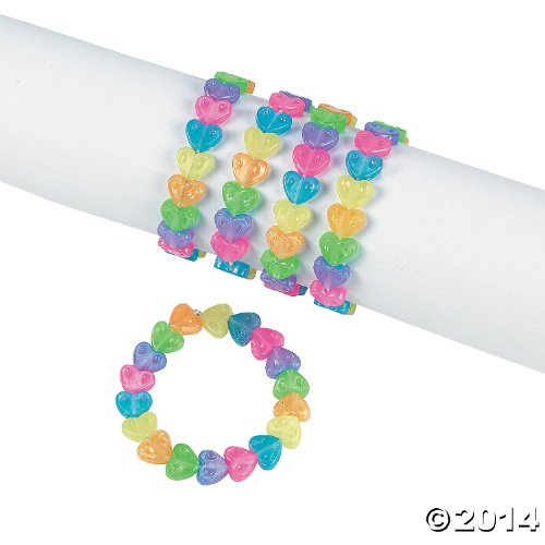 1 Dz. Plastic Beaded Rainbow Heart Bracelets - Easter & Novelty Jewelry