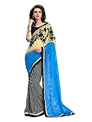 RUDDHI WOMEN'S DESIGNER BLUE & BEIGE FASHION GEORGETTE SAREE