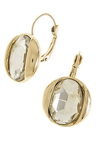 Trendy Fashion Jewelry Large Crystal Accent Earrings By Fashion Destination | (Clear/Gold)