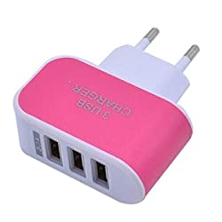 AllExtreme 3 Ports LED Triple quick Charge USB Universal Travel Wall AC Charger Adapter 5V 3.1A For Smartphones, Tablets, Music Players PINK