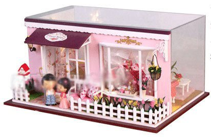 Big Dollhouse Miniature Diy Wood Frame Kit With Light Model Sweet Promise Gift Ldollhouse108-D96
