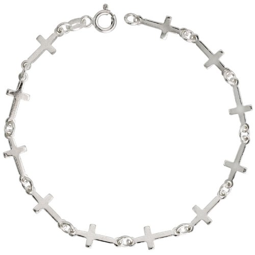 Sterling Silver Linked Plain Cross Bracelet, 1/4 inch (6 mm) wide, 7 in.
