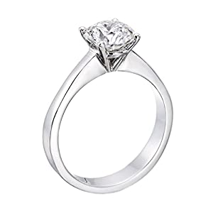 IGI Certified 14k white-gold Round Cut Diamond Engagement Ring (0.52 cttw, D Color, SI1 Clarity)