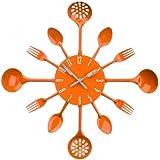 Premier Housewares 2200670 Horloge Murale Couverts en Métal Orange