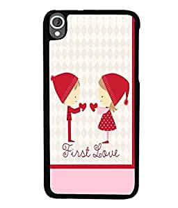 Fuson Premium First Love Metal Printed with Hard Plastic Back Case Cover for HTC Desire 820