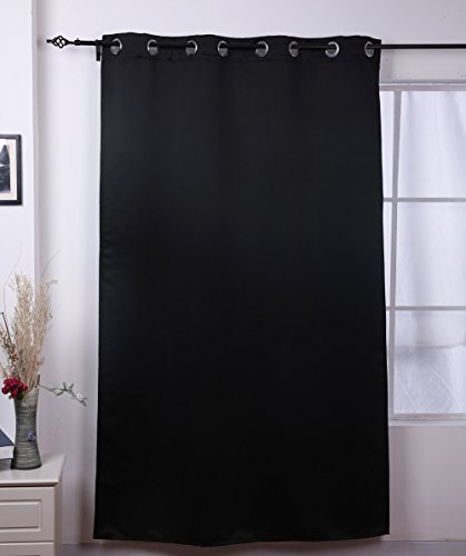 Deconovo Black Thermal Insulated Blackout Panel Curtains