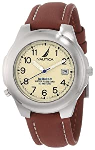 Nautica Men's N07501 Leather Round Analog Indiglo Watch