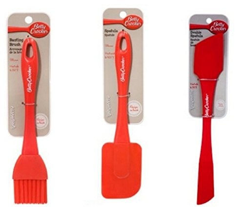 Red Silicone Kitchen Set 3 Piece Bundle - 2 Red Silicone Double Sided Spatula/Scraper, Basting Pasty Brush, and 3 Simple Recipes By J. Ororo