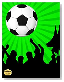 Soccer Fans Notebook - For the soccer lover in your life! A bright green and black background behind a large soccer ball make a dramatic combination for the cover of this college ruled notebook.