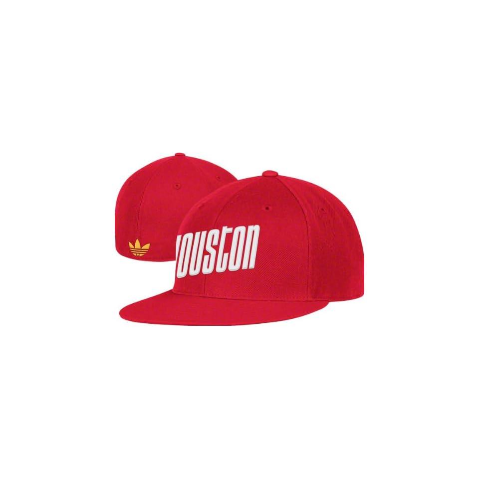 206232e69c002 Houston Rockets adidas Originals Old School Wordmark Flat Brim Flex Fit Hat