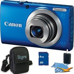 PowerShot A4000 IS 16MP Blue Digital Camera 8x Optical Zoom 3 inch LCD Compact Camera Plus 4 GB Kit. Kit Includes Compact Digital Camera Deluxe Carrying Case, 4GB Secure Digital SD Memory Card, 3pc. Lens Cleaning Kit, and Microfiber Cleaning Cloth.