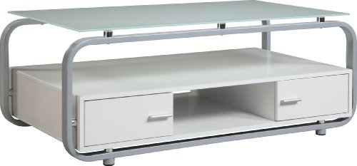 Cheap Altra 114096 TV Stand and Coffee Table, White on Silver (B004CVKVRA)