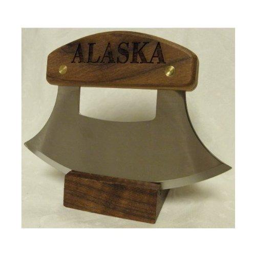 "Alaskan Ulu, Inupiat Style With ""Alaska"" Etched Walnut Handle, 6"""