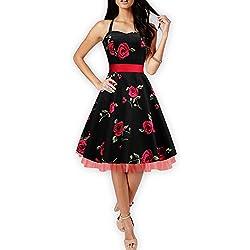 "Black Butterfly Abito vintage anni '50 ""Rhya"" Infinity (Grandi Rose Rosse, IT 48 - XL)"