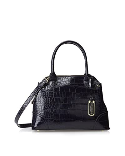 London Fog Women's Reid Dome Top Handle Bag, Sapphire Crocodile