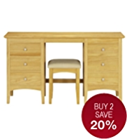 Hastings Natural Dressing Table & Stool Set