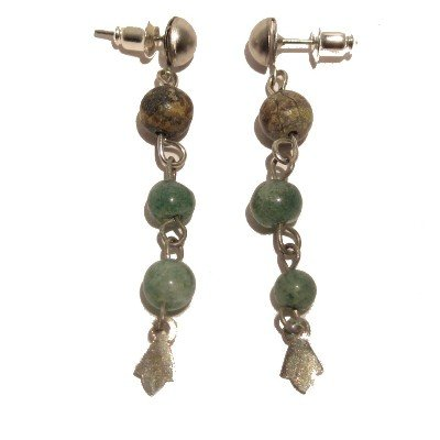 Aventurine Earrings 32 Dangle Magnetite Green Black Beaded Crystal Healing 2