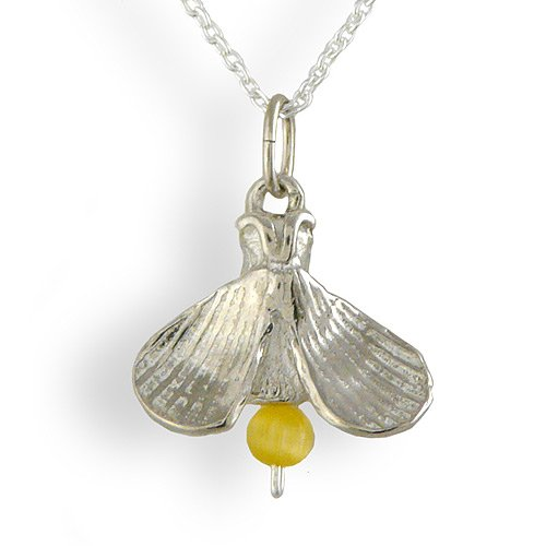 Lightning Bug / Firefly Necklace, Sterling Silver and Cats-Eye