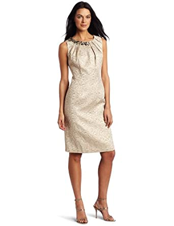 maxandcleo Women's Jacquard Bead Dress, Gold, 4