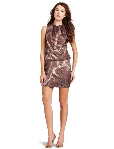 HALSTON HERITAGE Women's Sleeveless Draped Neck Dress, Taupe, 4