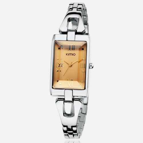 Ufingo-Retro Creative Casual Square Dial Nice Wrist Watch For Women/Ladies/Girls-Silver Band Gold Dial
