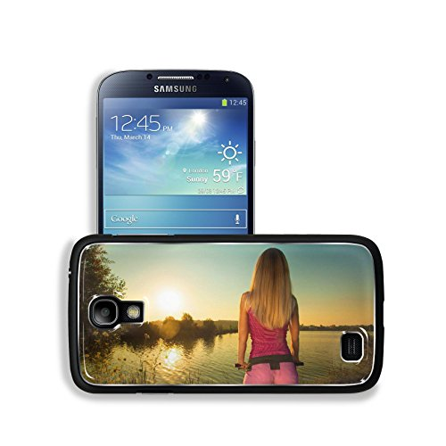 Luxlady Premium Samsung Galaxy S4 Aluminum Backplate Bumper Snap Case IMAGE ID: 31398848 Close up of rear view of a pretty woman on bicycle relaxing at Sunset