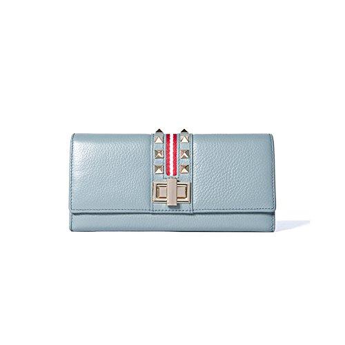 Yvonnelee Delle donne del cuoio genuino portafogli borsa esclusiva Long Bifold cassa