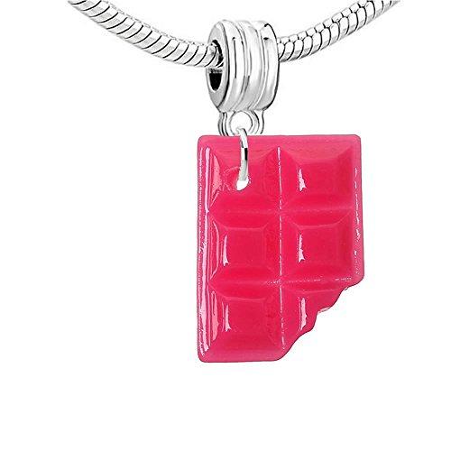 SEXY SPARKLES-Sweet Late Bar-Perlina per braccialetto, Lega, colore: dark pink chocolate, cod. 2970-B42182 Dark pink dangle