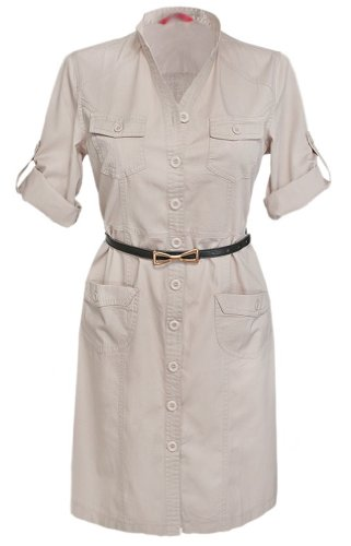 Glamour Empire Women's Mandarin Collar Combat Style Shirt Dress w/ Pockets 096 (US 12, Ecru)