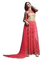 Parinaaz Pink soft net Brasho fabric Unsticht Dressmaterial