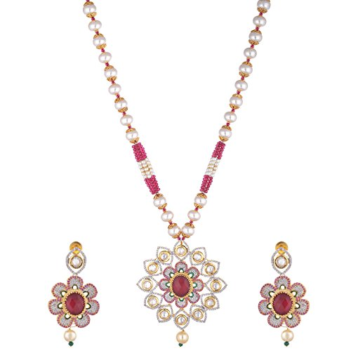 Sparkles Creation Pink Floral Necklace Set In American Diamonds And One Gram Gold Plated Metal