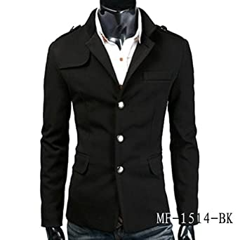 SLIM FIT STAND COLLAR SINGLE-BREASTED SUIT COAT BLAZER MF-1514