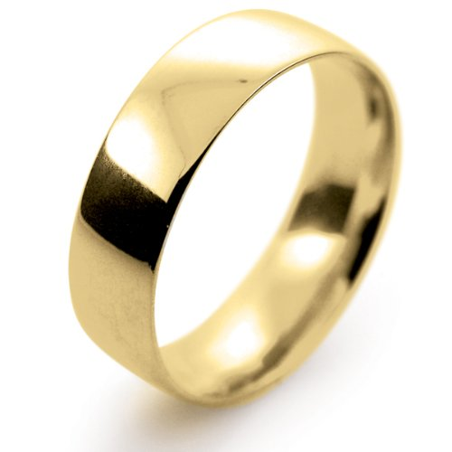 18ct Yellow Gold Wedding Ring Court Light Weight - 6mm