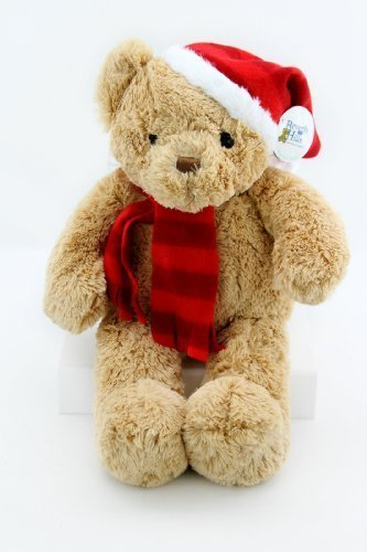 "Beverly Hills Teddy Bear Company Tan Plush Santa Christmas Bear 17"" - 1"