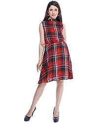Designeez Multi-Colored Checkered Shift Dress