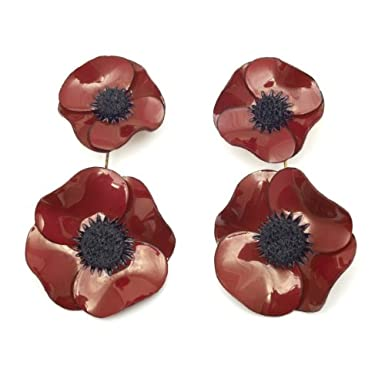 Long Anemone Earrings by Cilea (Red)